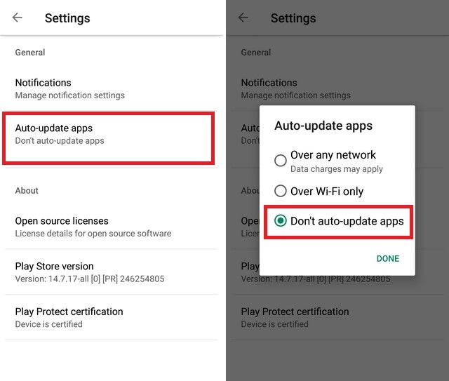 Disable Google Play Updates