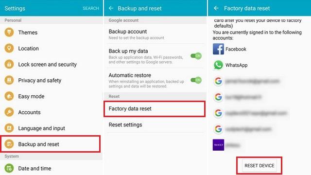 Factory Reset Samsung Galaxy S6