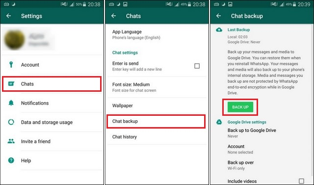 Transfer Whatsapp Messages from Android to Galaxy S9 via Google Drive
