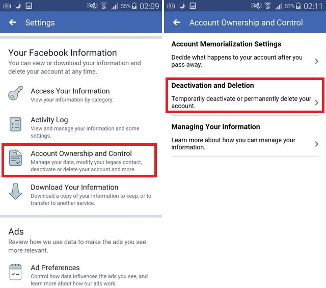 Delete Facebook Account on Android