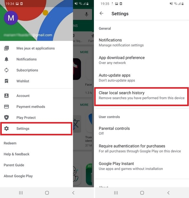 Clear Search History in the Google Play Store