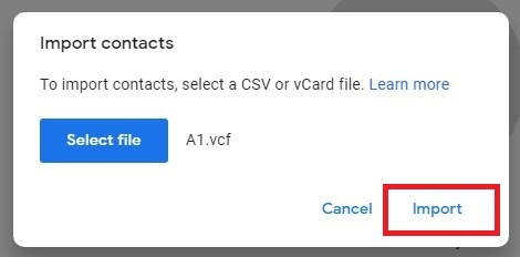Click Choose File and navigate to the folder where vCard is saved