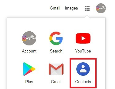 Click the Google Apps and Click Contacts - transfer contacts from iPhone to Android