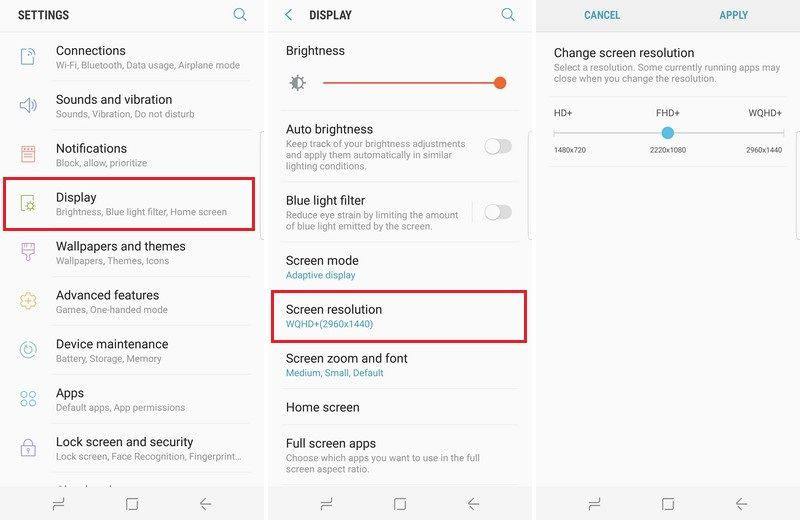 change display resolution on the Galaxy S8