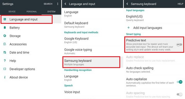 How to turn off Autocorrect on the Galaxy S6 via Settings