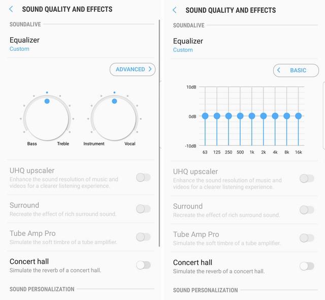 Advanced and basic controls Galaxy S8