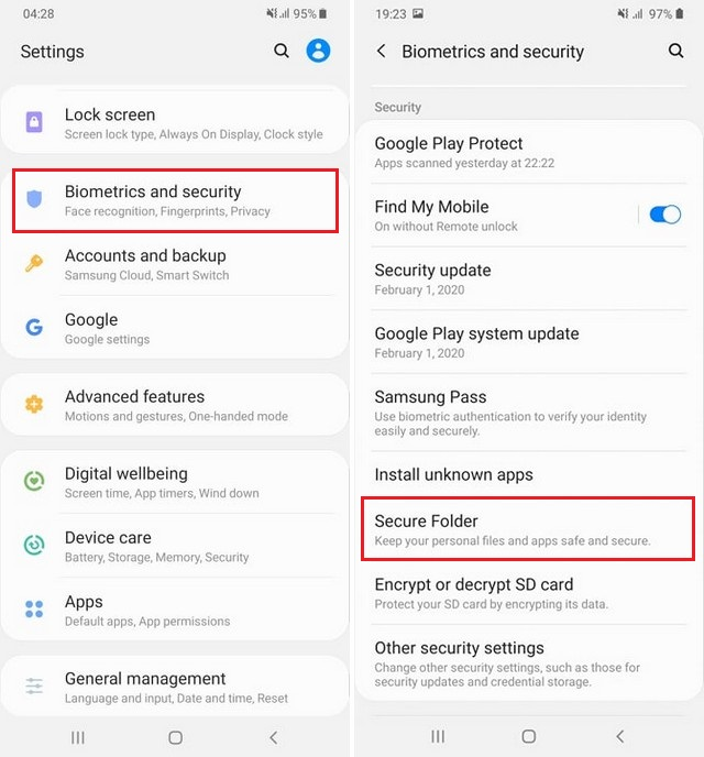 Enable or Disable Secure Folder on Galaxy S10