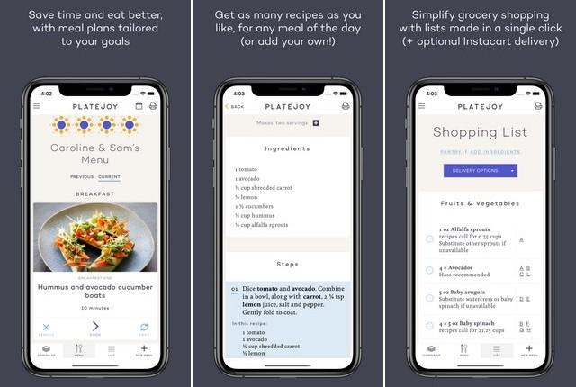 PlateJoy - best meal planning app