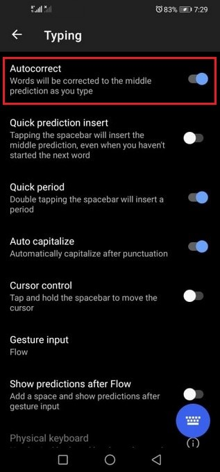 Disable Autocorrect on Huawei P40 Pro