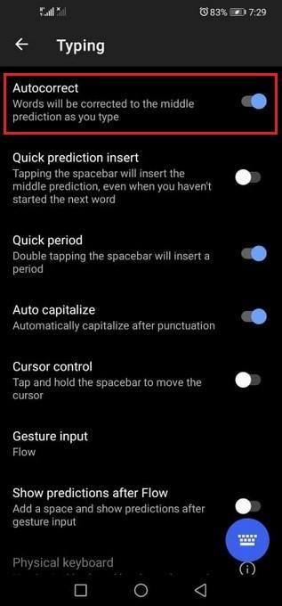 Disable Autocorrect on Huawei Phone