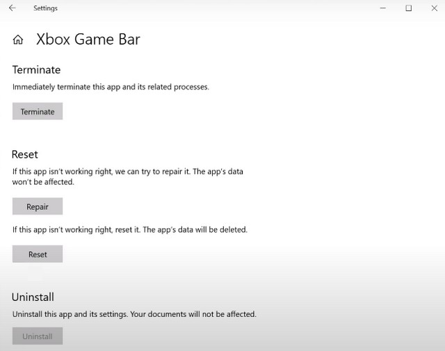Delete Xbox Game Bar from Windows 10