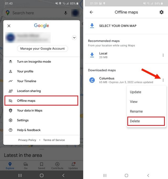 How to delete the Downloaded Offline Maps