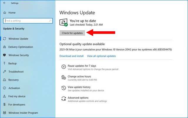 How to reinstall an Update