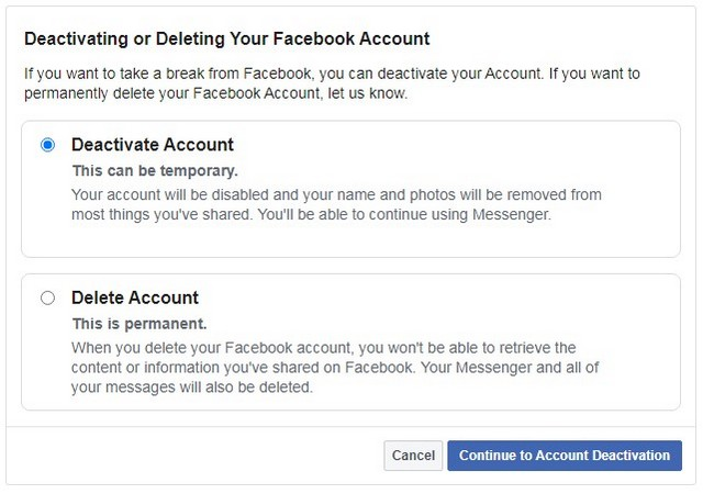 Permanently delete your account Facebook