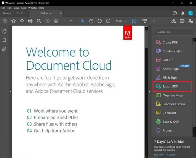 PDF to a Microsoft Word Document using Acrobat Reader