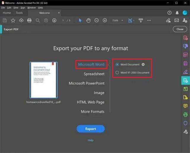 PDF to a Microsoft Word Document